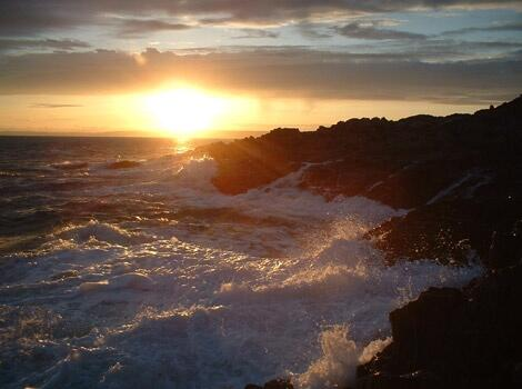 Rocky coast and Cornish sunrise
